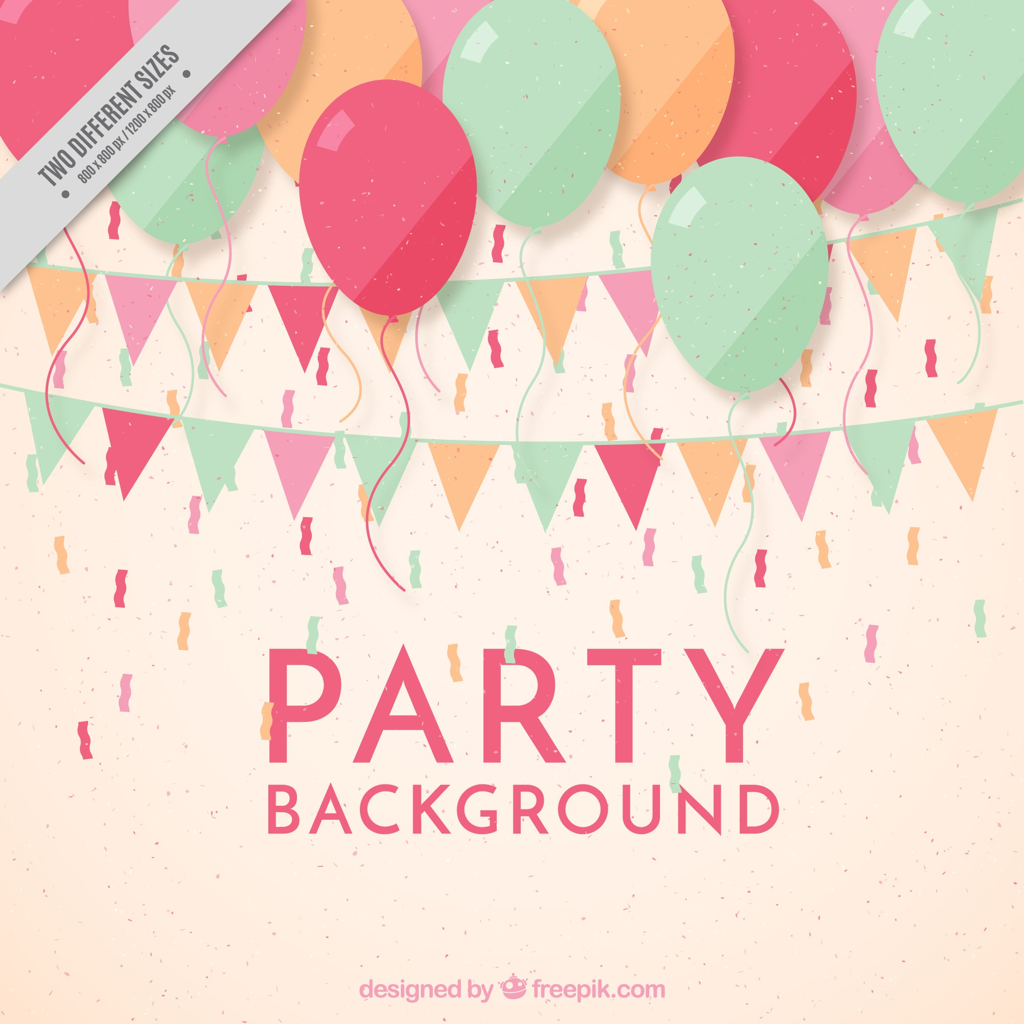 Pink party background with garlands and balloons