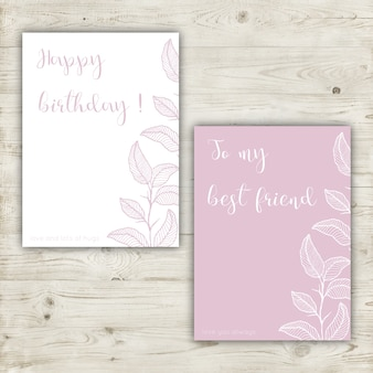 Pink pastel birthday greeting card with hand drawn elements