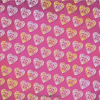 Pink pattern of diamonds in hand-drawn style