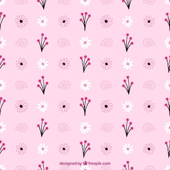 Pink pattern of hand drawn flowers