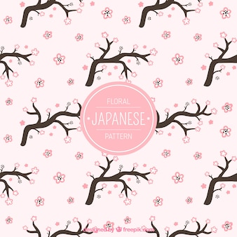 Pink pattern with had drawn cherry blossom