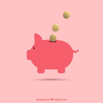 Pink piggy bank background with coins in flat design