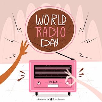 Pink radio background in vintage style
