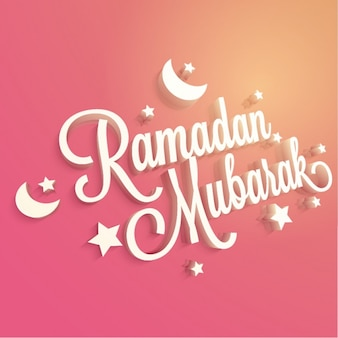 Pink ramadan background with stars and moons