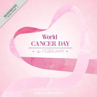 Pink ribbon watercolor background