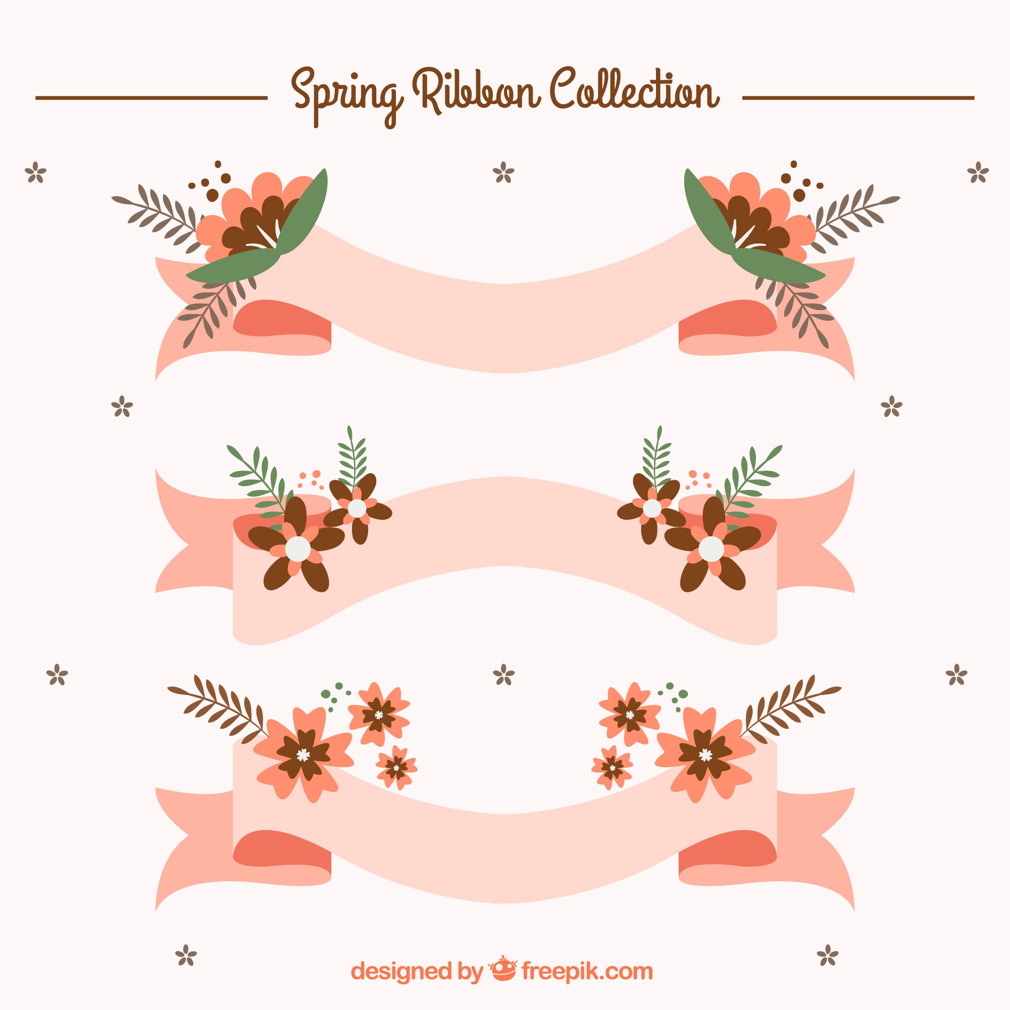Pink ribbons with spring flowers in flat design