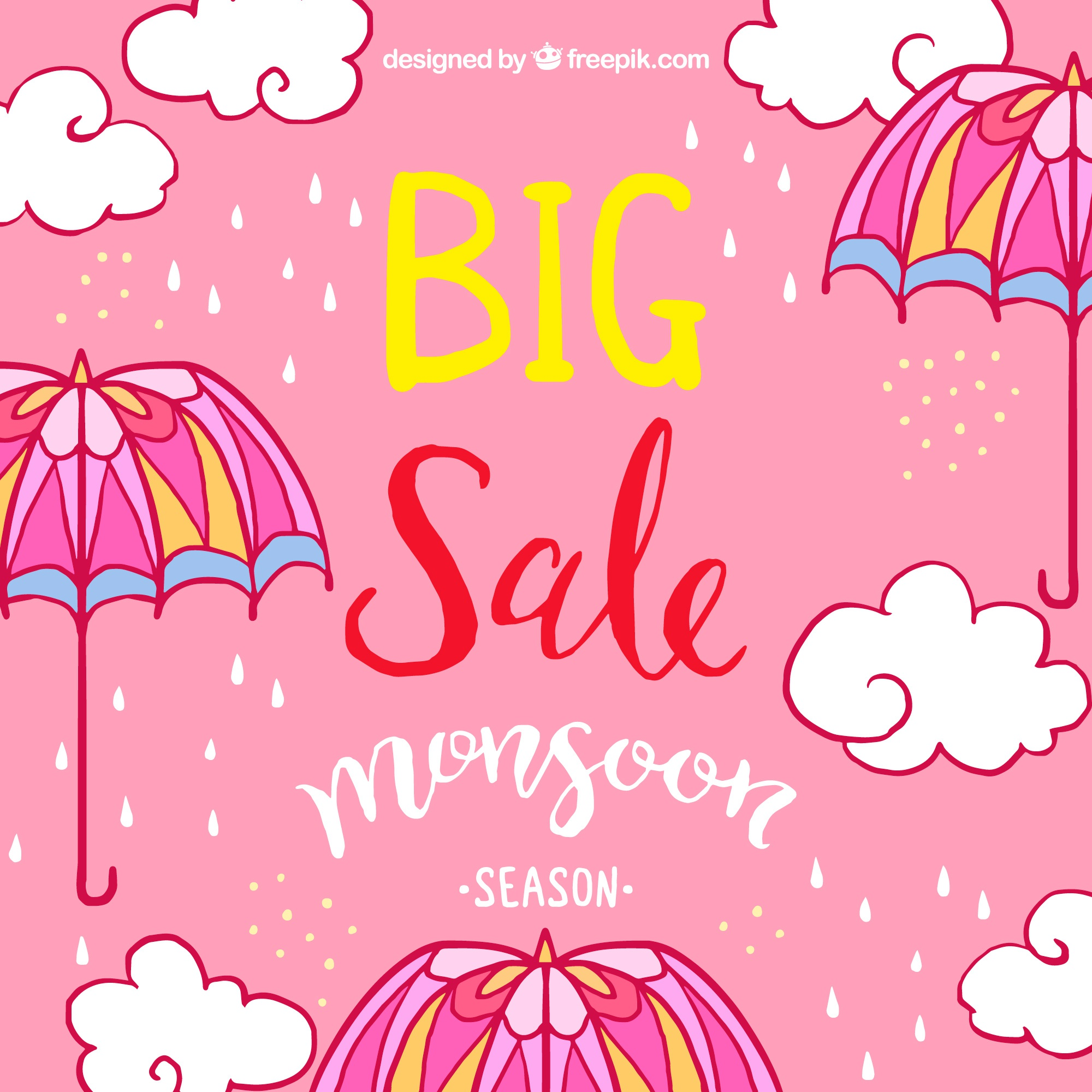 Pink sale background with umbrella and hand drawn clouds
