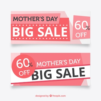 Pink sale banners for mother's day