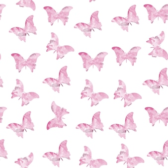 Pink seamless watercolor butterflies pattern
