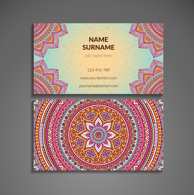 Pink soft business card with mandala