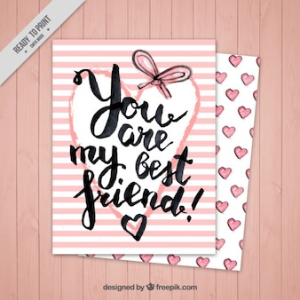 Pink stripes card of friendship day