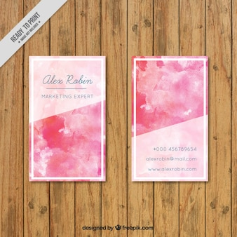 Pink stylish watercolor business card