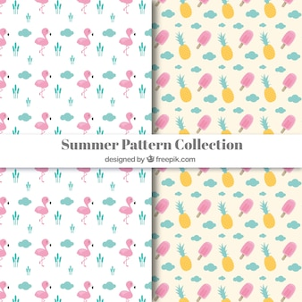 Pink summer elements pattern collection