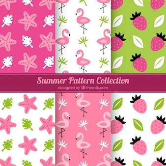 Pink summer pattern collection