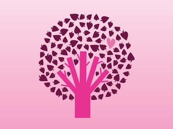 Pink tree with hearts