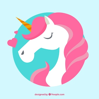 Pink unicorn background with hearts