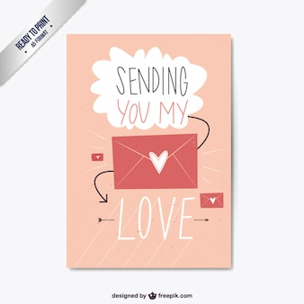 Pink Valentine Day Flat Card with envelope