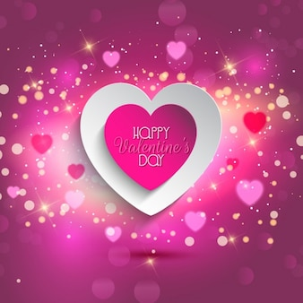 Pink valentine heart glowing background