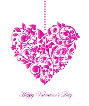 Pink valentine heart with flowers