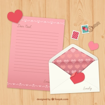 Pink valentine letter with stamps