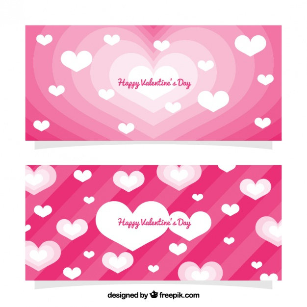Pink valentine's day banners with white hearts