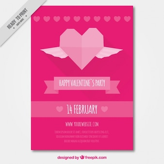 Pink valentine's party poster with geometric heart