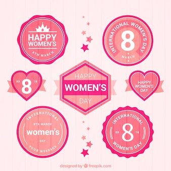 Pink vintage woman day badges