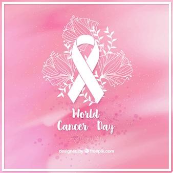 がん日リボンと花の詳細とピンクの水彩画の背景