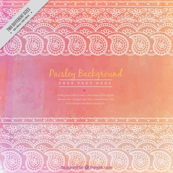 Pink watercolor background with paisley strips