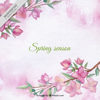 Pink watercolor background with pretty flowers