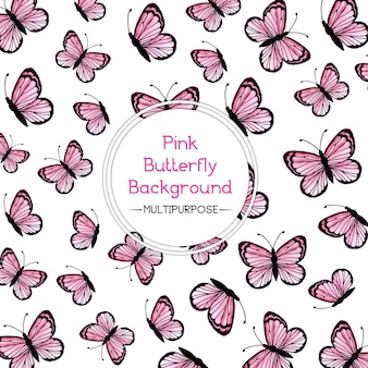 Pink Watercolor Butterfly Background