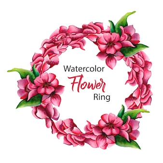 Pink watercolor floral ring