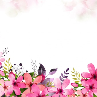 Pink watercolor flowers decorated background.
