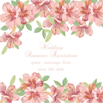 Pink watercolor flowers wedding summer invitation