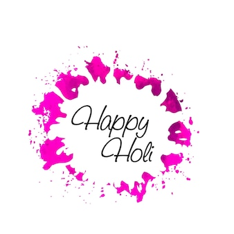 Pink watercolor frame for holi festival