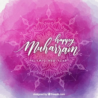 Pink watercolor muharram background