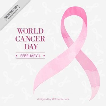 Pink watercolor ribbon world cancer day background
