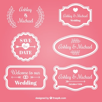 Pink wedding badge collection
