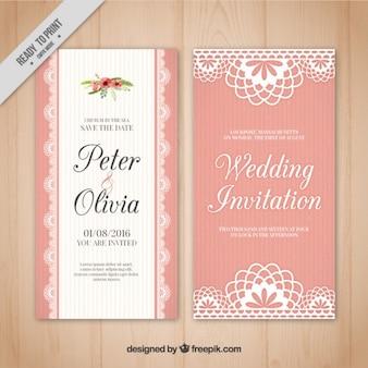 Pink wedding card in vintage style