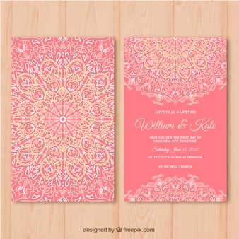Pink wedding card with mandala design