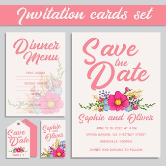 Pink wedding invitation cards set