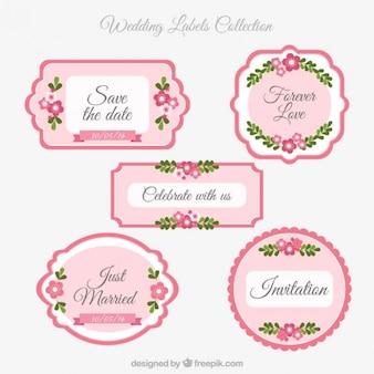 Pink wedding labels