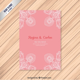 Pink weeding card with ornaments