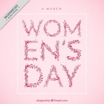 Pink woman day background with leaves detail