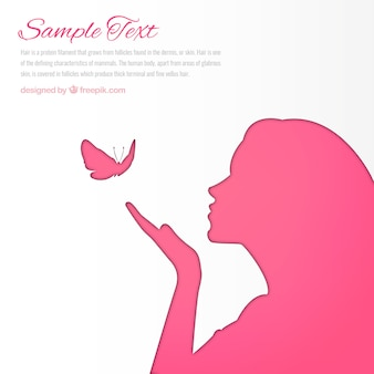 Pink woman silhouette background