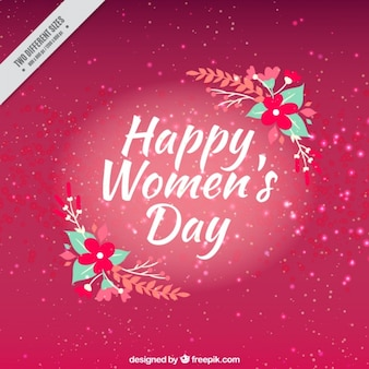 Pink women's day background with floral decoration