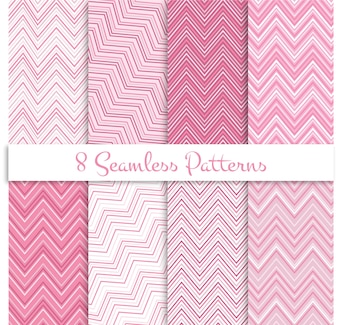 Pink zig zag seamless patterns set
