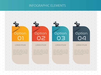 Pinned Colored infographic with four option
