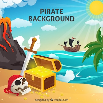 Pirate background with treasure and skull