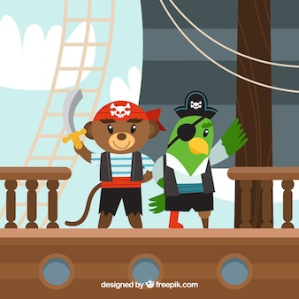 Pirate bear and parrot background in flat design